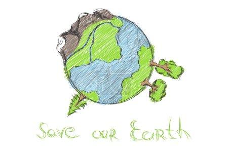 Hand drawn cartoon earth