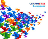 Colorful origami birds abstract vector background