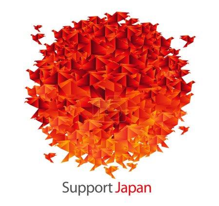 Illustration for Japan flag shaped from origami birds - superb creative idea vector illustration - Royalty Free Image