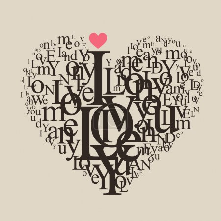 Illustration for Heart shape from letters - vector typographic composition - Royalty Free Image