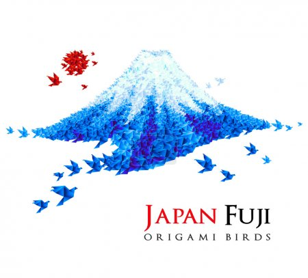 Origami Fuji mount shaped origami birds