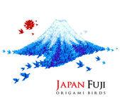 Origami Fuji mount shaped origami birds