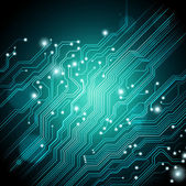 High tech vector dark green-blue background with circuit board texture