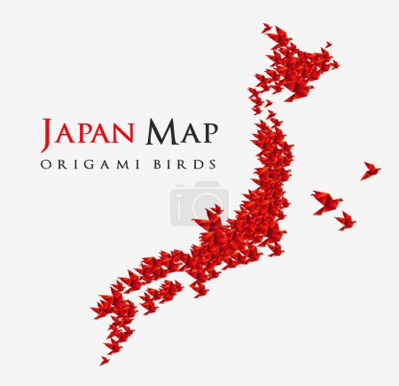 Illustration for Japan map shaped from origami birds - isolated on white background vector - Royalty Free Image