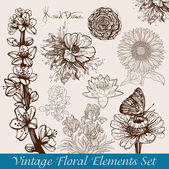 Vintage / retro flower backgrounds set - vector illustration