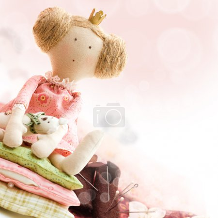 Doll princess and textile and sewing accessory