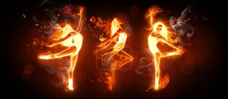 Photo for Fire dancers on the black background - Royalty Free Image