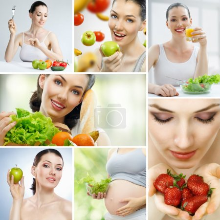 Photo for A beautiful slender girl eating healthy food - Royalty Free Image