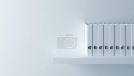 Photo for Row of folders on bookshelf, 3d render - Royalty Free Image