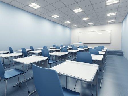 Foto de Moderno salón azul. Render 3D - Imagen libre de derechos