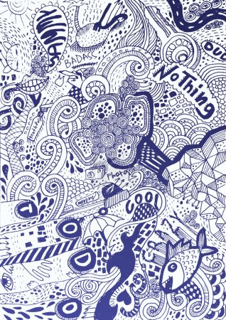 Illustration for Psychedelic abstract hand-drawn doodles background - Royalty Free Image