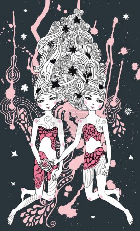 Gemini girls surreal illustration