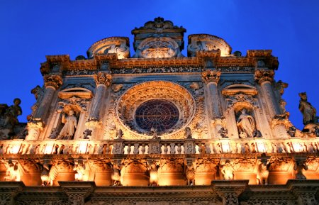 """Photo for Italy Lecce Historic center """"Santa Croce Church"""" baroque architecture at night. Italy - Royalty Free Image"""