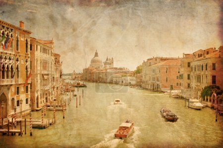 Photo for Great view on Grand Canal in Venice in grunge style, Italy - Royalty Free Image