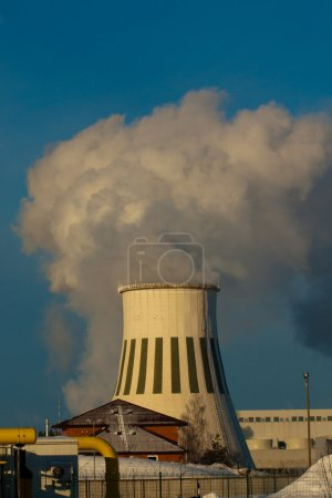 Photo for Smokestack Pollution in the air - Royalty Free Image