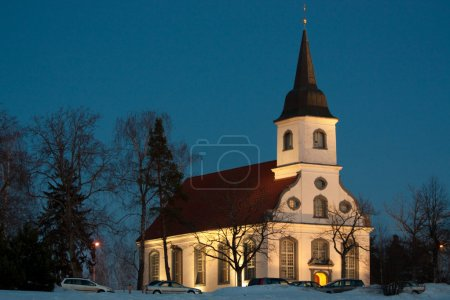 Photo for Church at nught on blue sky background - Royalty Free Image