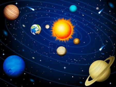 Illustration for Vector illustration - Solar system background - Royalty Free Image