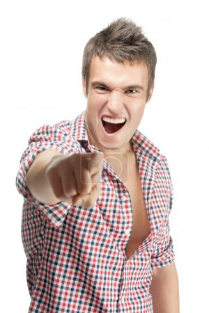 Cheerful malicious young man
