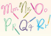 Color hand drawing letters for your design mnopqr