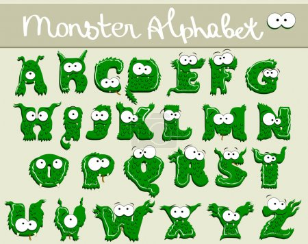 Illustration for Joyful Cartoon font - from A to Z, monster green capital letter - Royalty Free Image
