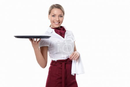 Photo for A young attractive waitress with a tray on a white background - Royalty Free Image