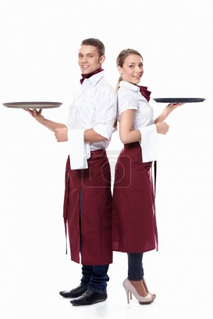 Photo for Two waiters on a white background - Royalty Free Image