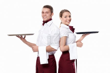 Photo for Two attractive waiters on a white background - Royalty Free Image