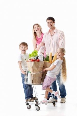 Photo pour Famille avec panier avec achats isolés - image libre de droit