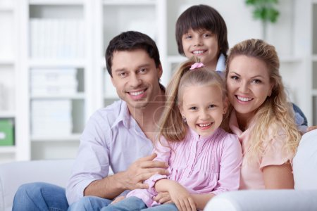 Photo for Happy family with children at home - Royalty Free Image