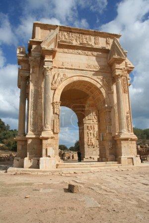 Arch of Septimius Severus in ancient city of Lepti...