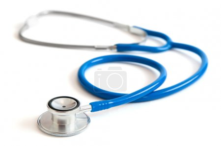 Blue stethoscope isolated