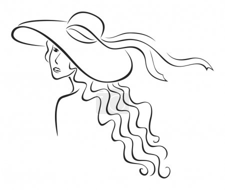 Illustration for Elegance woman with long hair in hat - Royalty Free Image