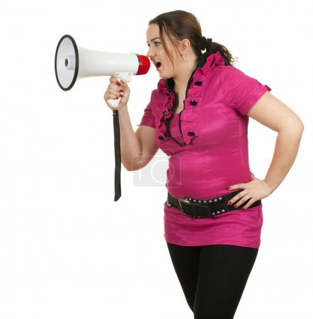 Young fat girl with megaphone
