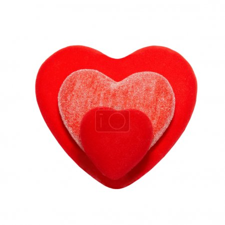 Three valentine hearts isolated on white.