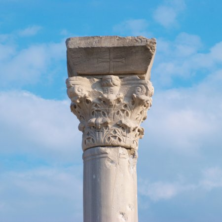 Photo for Greek column on the blue sky background - Royalty Free Image