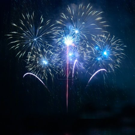 Photo for Blue fireworks on the black sky background - Royalty Free Image