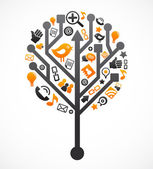 Social network tree with media icons vector illustration