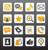 Social media orange icons set vector illustration