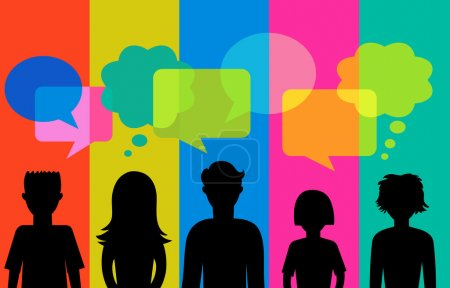 Silhouette of young with speech bubbles