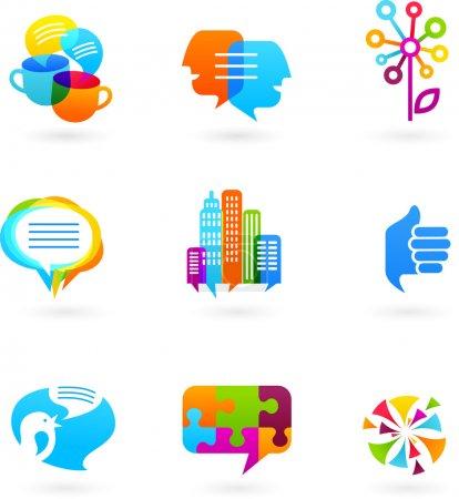 Illustration pour Icônes de réseaux sociaux, symboles et éléments graphiques, vecteur - image libre de droit