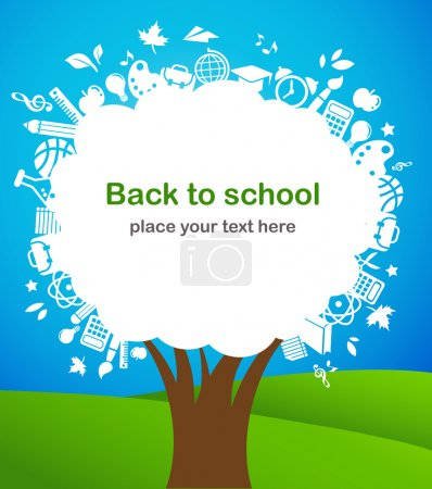 Illustration for Back to school - tree with education icons, vector - Royalty Free Image