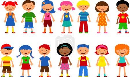 Photo pour Ensemble d'illustrations pour enfants mignons, enfants heureux et fleurs colorées - image libre de droit