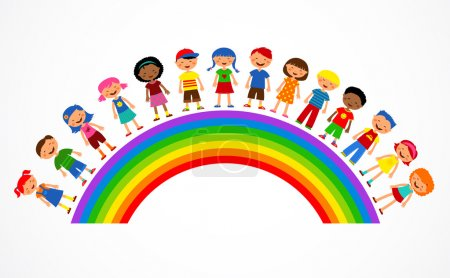 Illustration for Illustration with rainbow, happy children and colorful flowers - Royalty Free Image