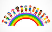Rainbow with kids colorful vector illustration
