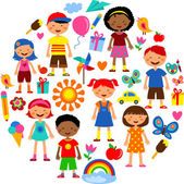 Illustration with planet earth happy children and colorful flowers