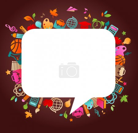 Illustration for Back to school - frame background with education icons, vector - Royalty Free Image
