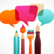 Art and writing tools with speech bubles, vector o...