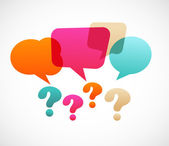 Question mark with speech bubles
