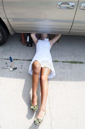 A beautiful female mechanic