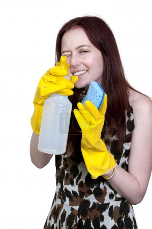 Photo for Aglove wearing beautiful woman or maid cleaning house with a sponge and spray bottle with cleaner - Royalty Free Image